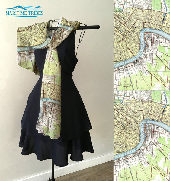 New Orleans River Map, Vintage Topo Map Scarf