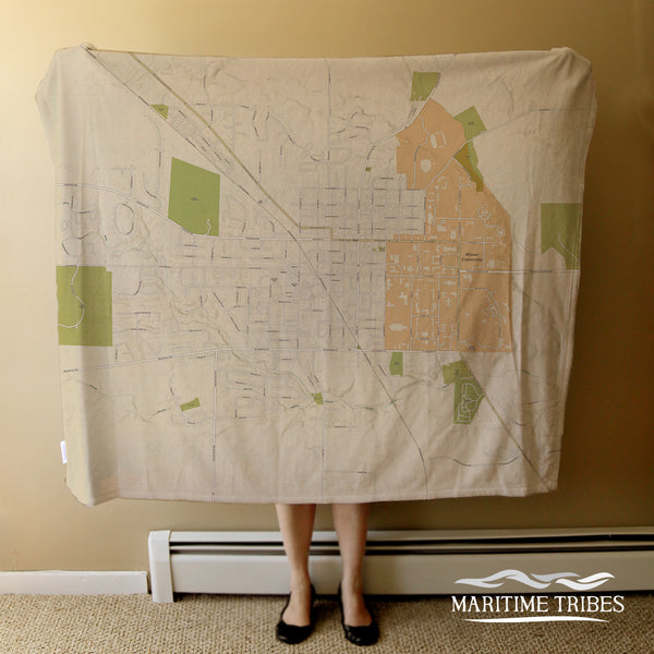 Oxford, OH and Miami University of OH - Sea Glass Style Blanket