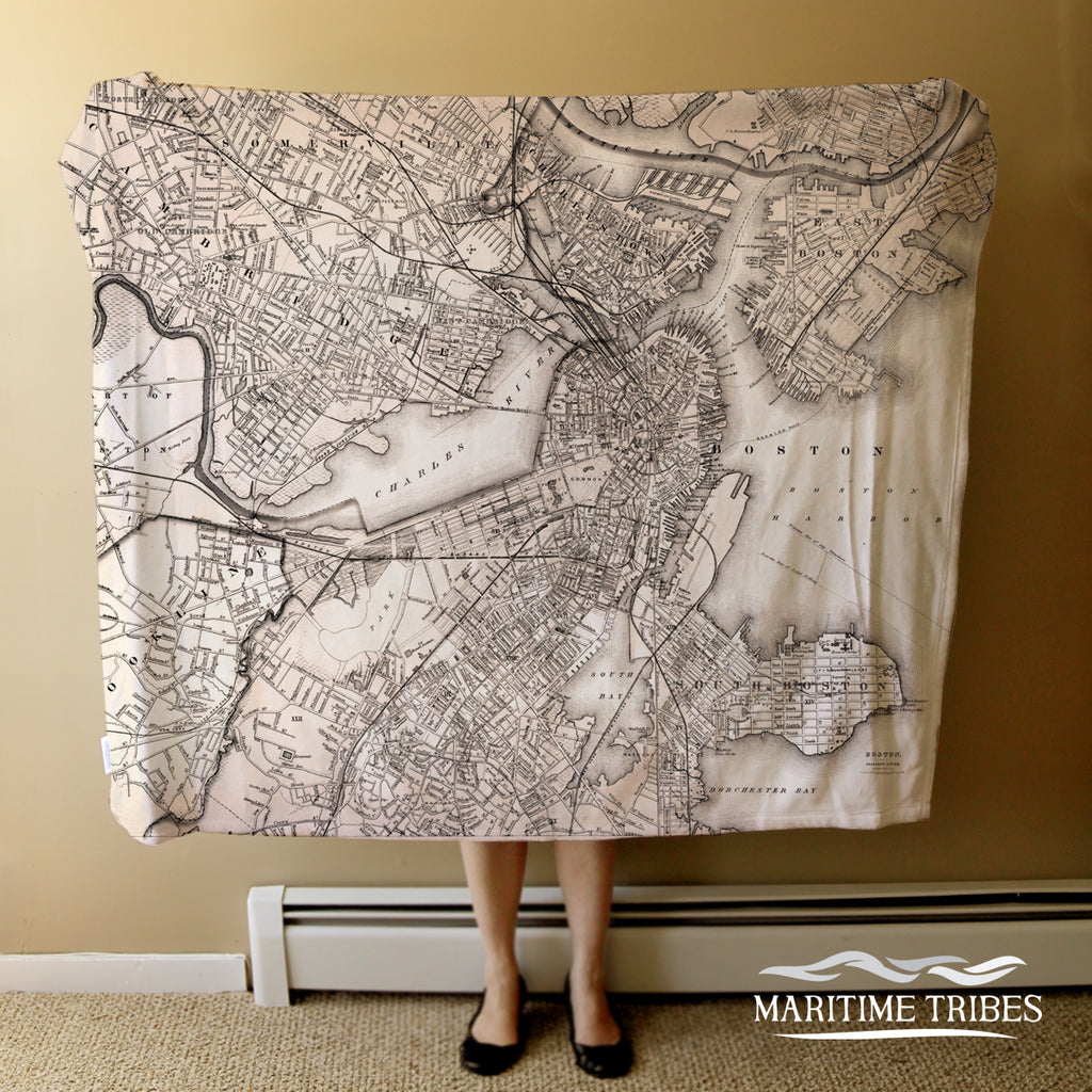 Antique Boston Harbor, MA Map Blanket