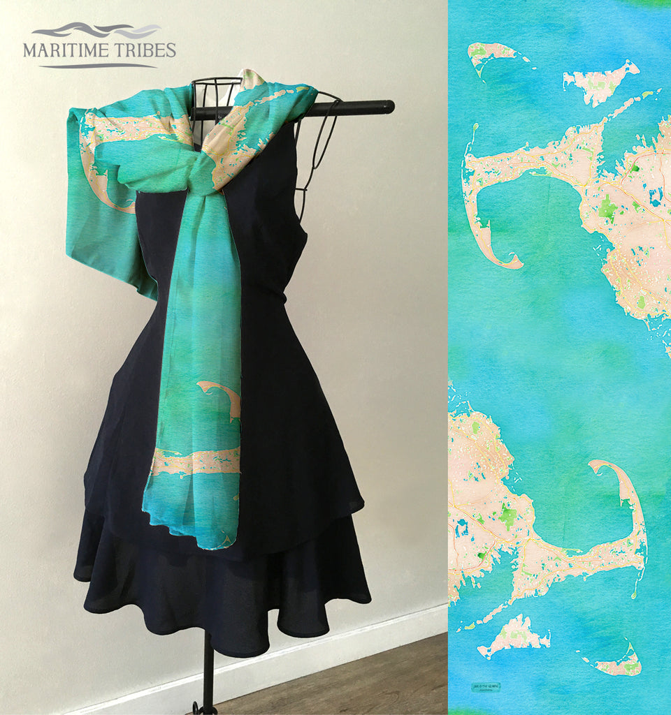 Cape Cod & The Islands Watercolor Map Scarf