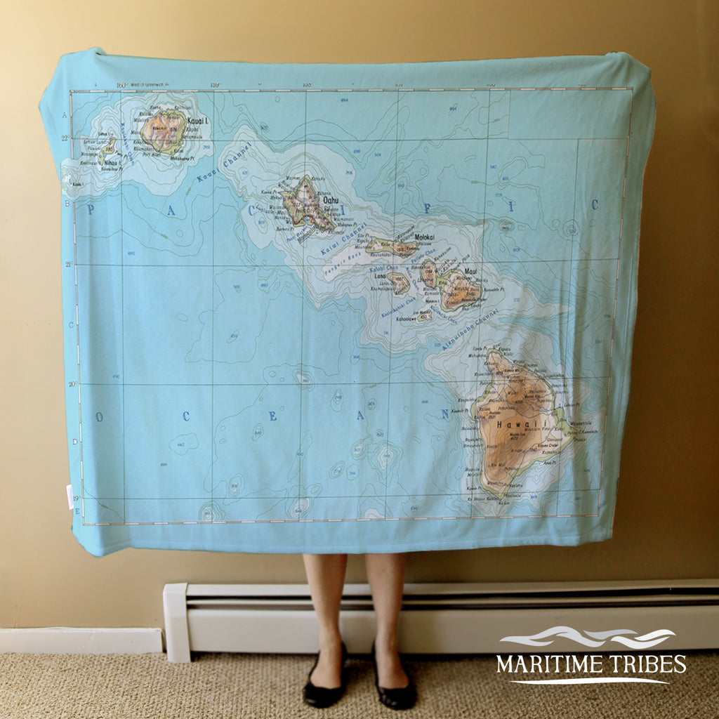 Hawaiian Islands Map Blanket