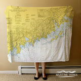 Long Island Sound West, Sherwood to Stamford Nautical Chart Blanket