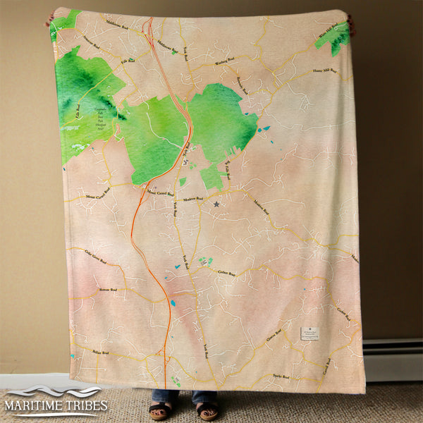 Monkton MD Watercolor Map Blanket
