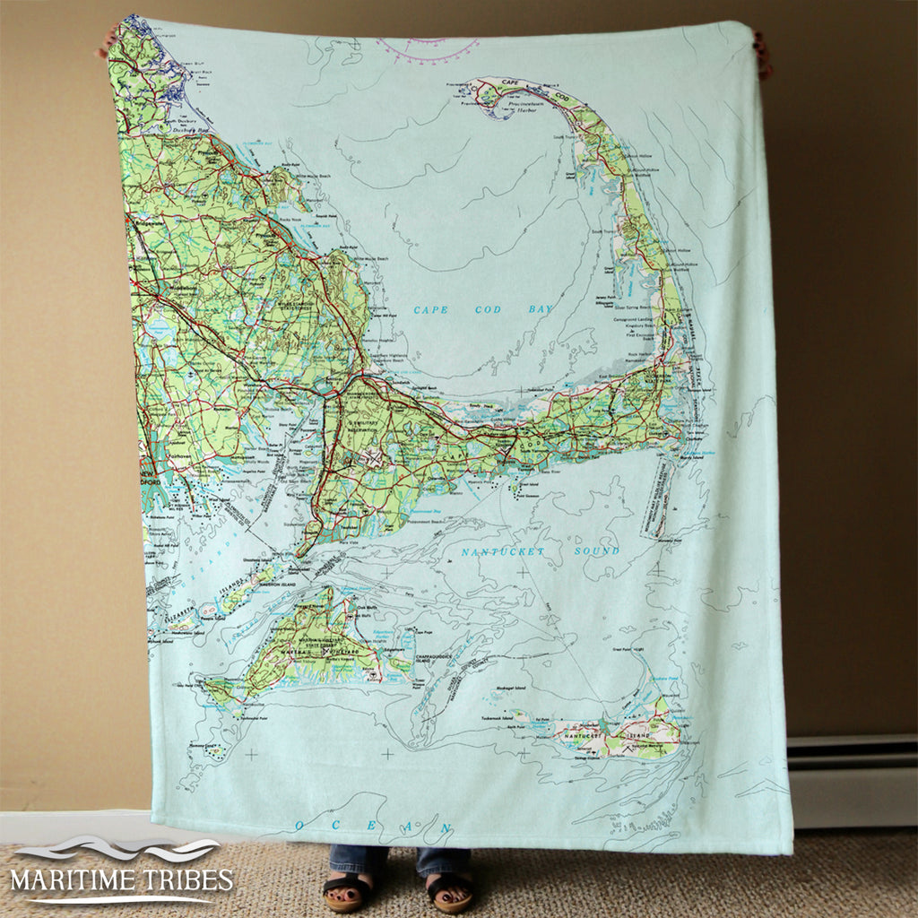 Cape Cod and the Islands, bright topo map Blanket