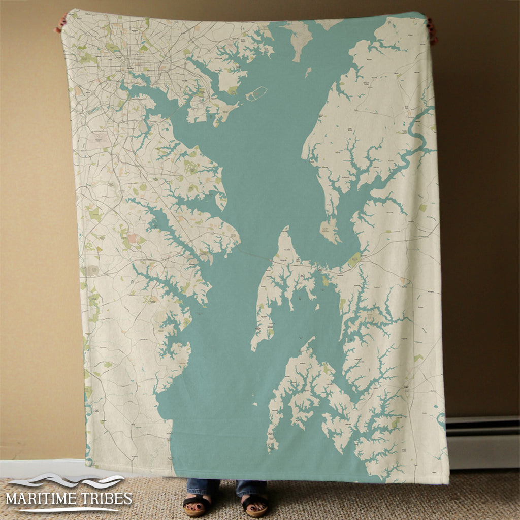 Severna Park, MD, Chesapeake Bay Sea Glass Map Blanket