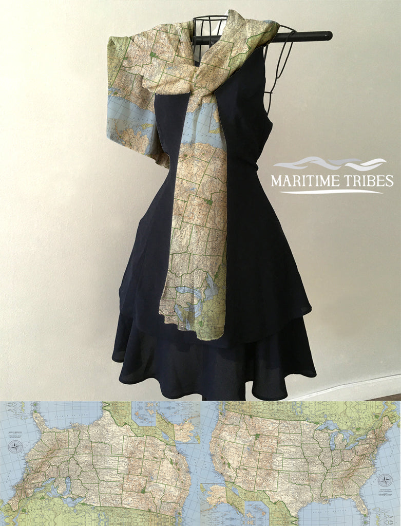 Vintage USA Map Scarf