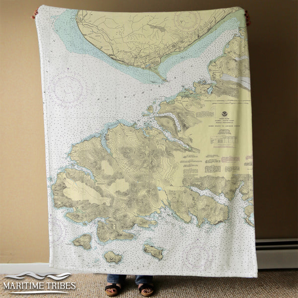 Homer, AK Kachemak Bay, vintage nautical chart Blanket