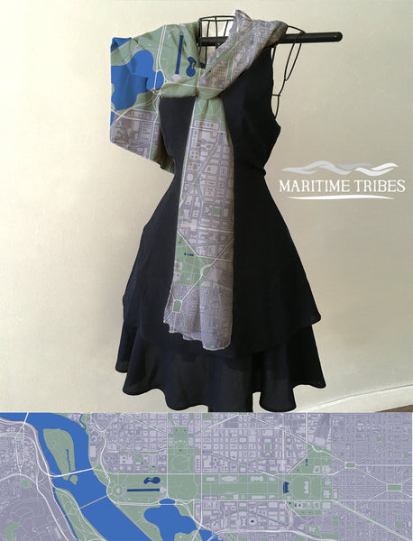 Washington D.C. URBAN Style Map Scarf