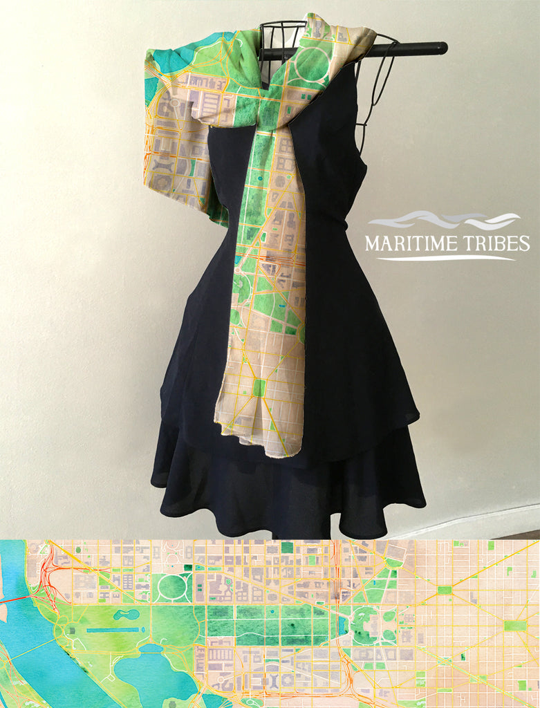Washington D.C.  Watercolor Map Scarf
