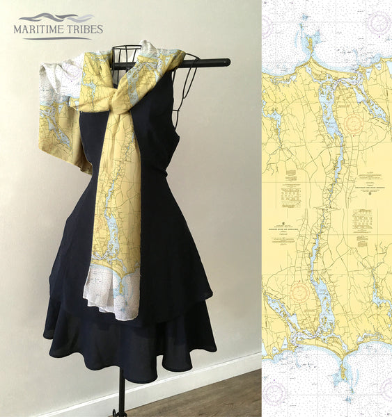 Westport, MA Vintage Nautical Chart Scarf