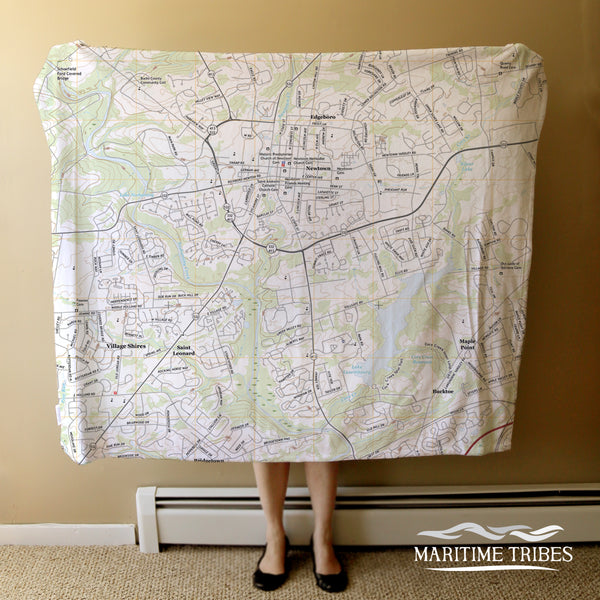 Newtown PA Topo Map Blanket
