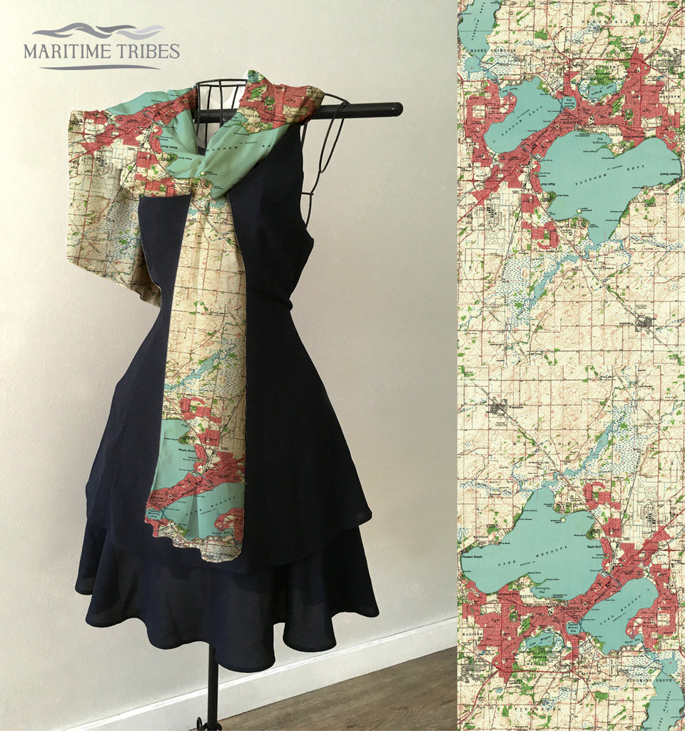 Madison, Wisconsin Topo Map Scarf