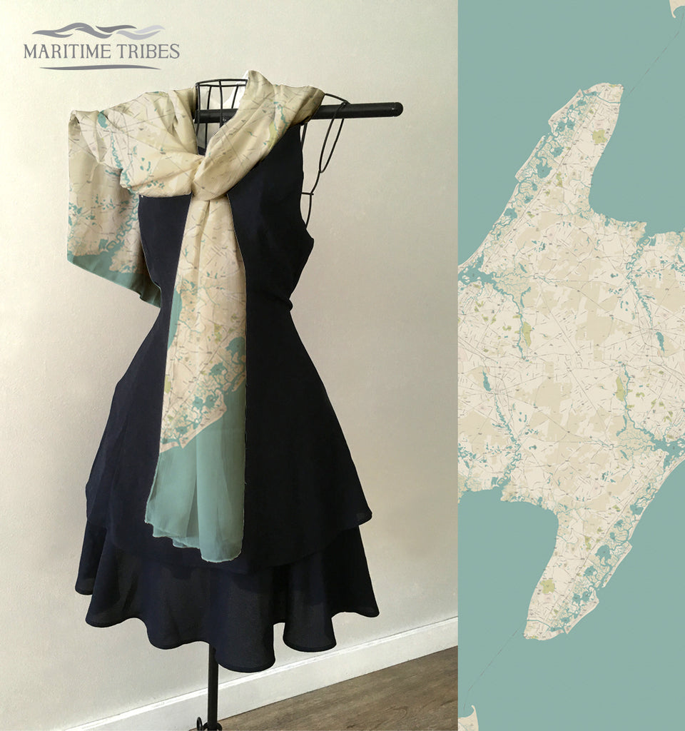 Cape May County NJ Sea Glass Map Scarf