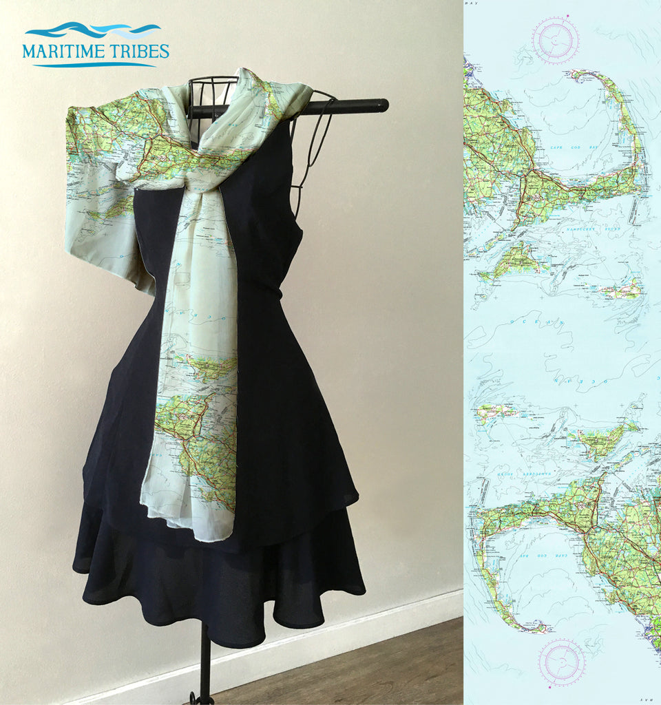 Cape Cod and the Islands, bright topo map Scarf
