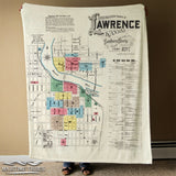 Lawrence KS Vintage Map Blanket