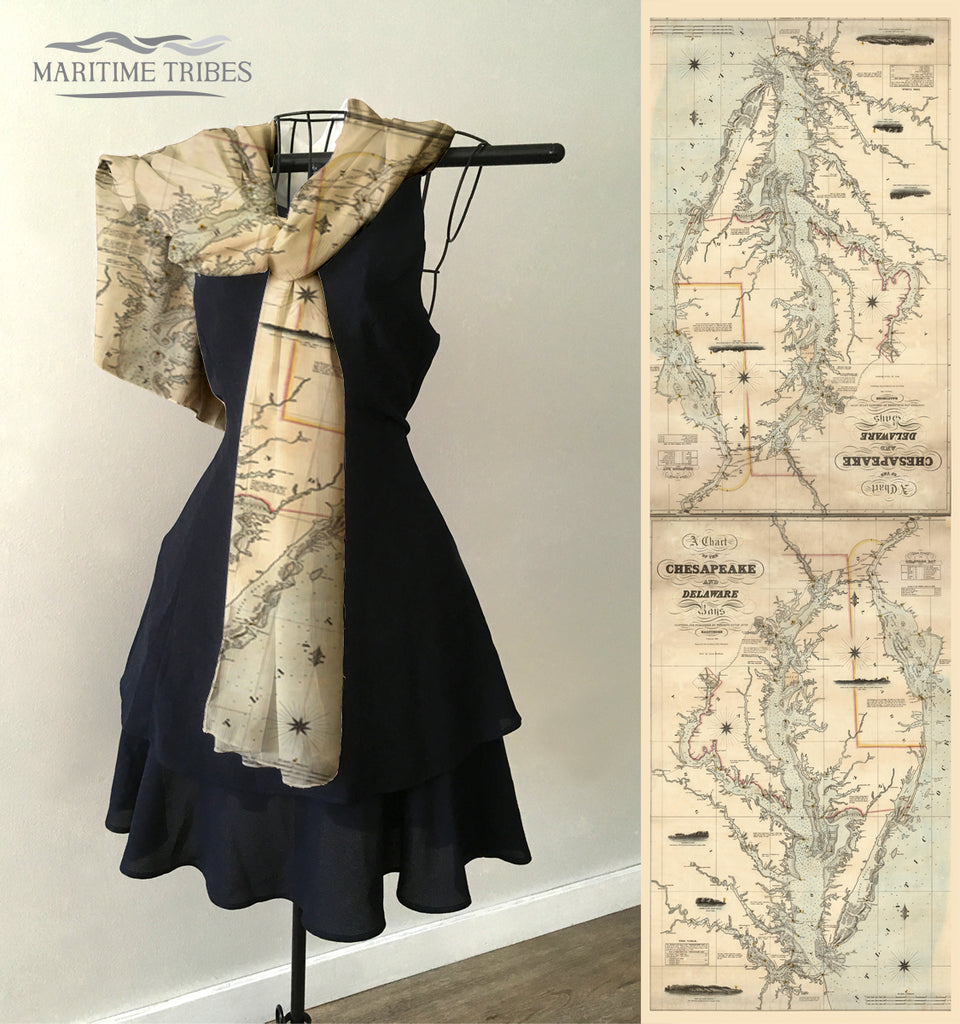 Chesapeake Bay Antique Map Scarf