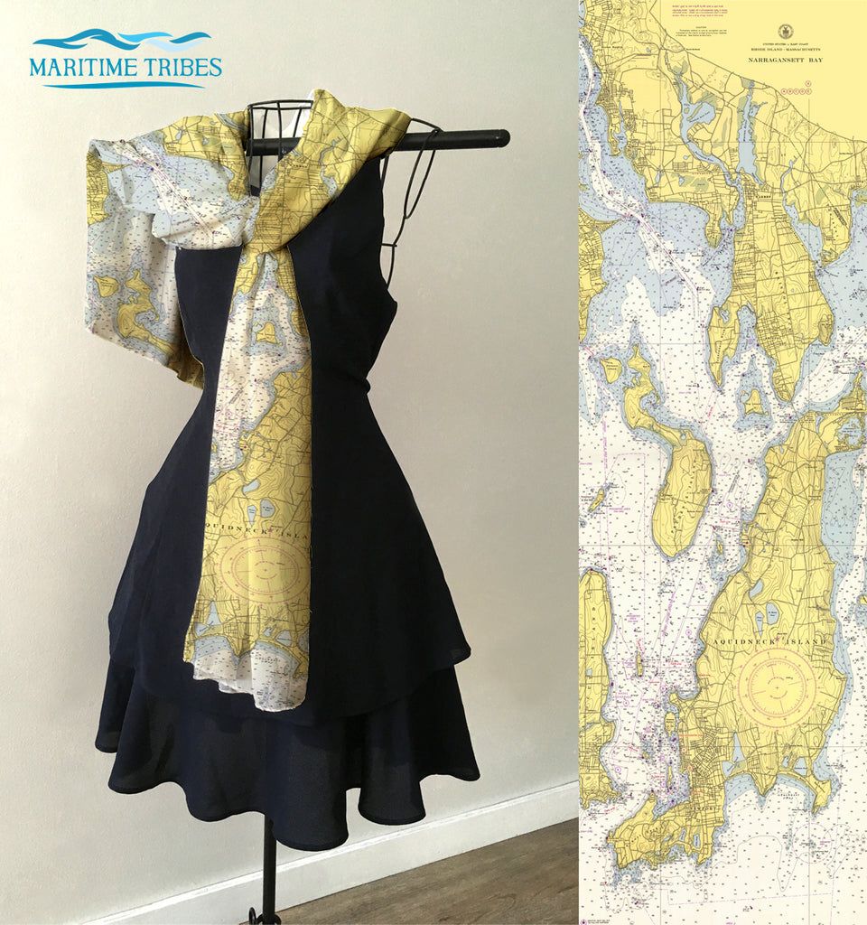 Newport RI Nautical Chart Scarf
