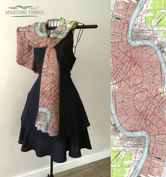 New Orleans, LA Vintage City Map Scarf