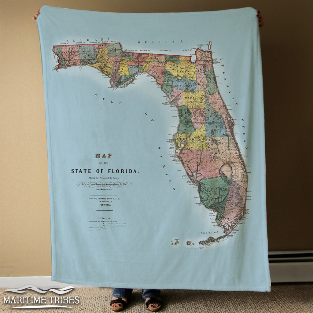 Florida State Map Blanket