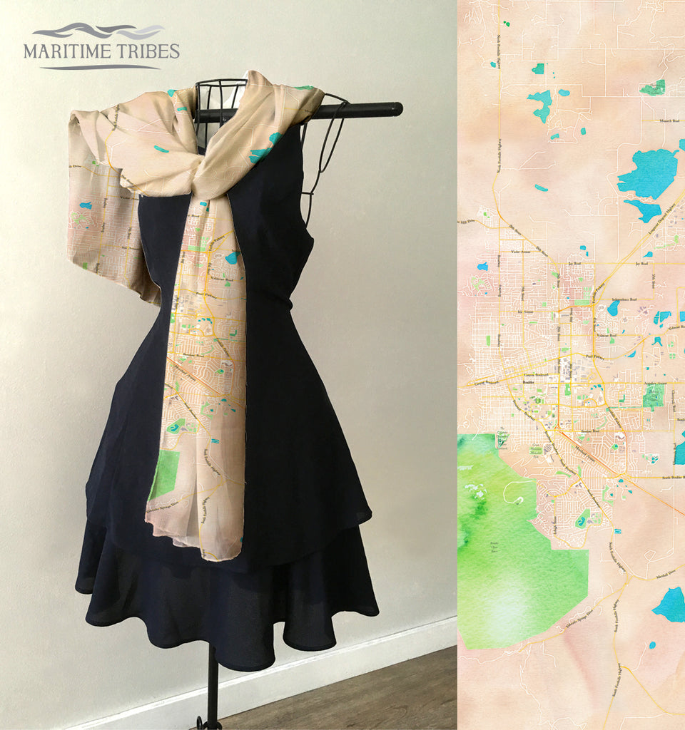 Boulder, CO Map Scarf