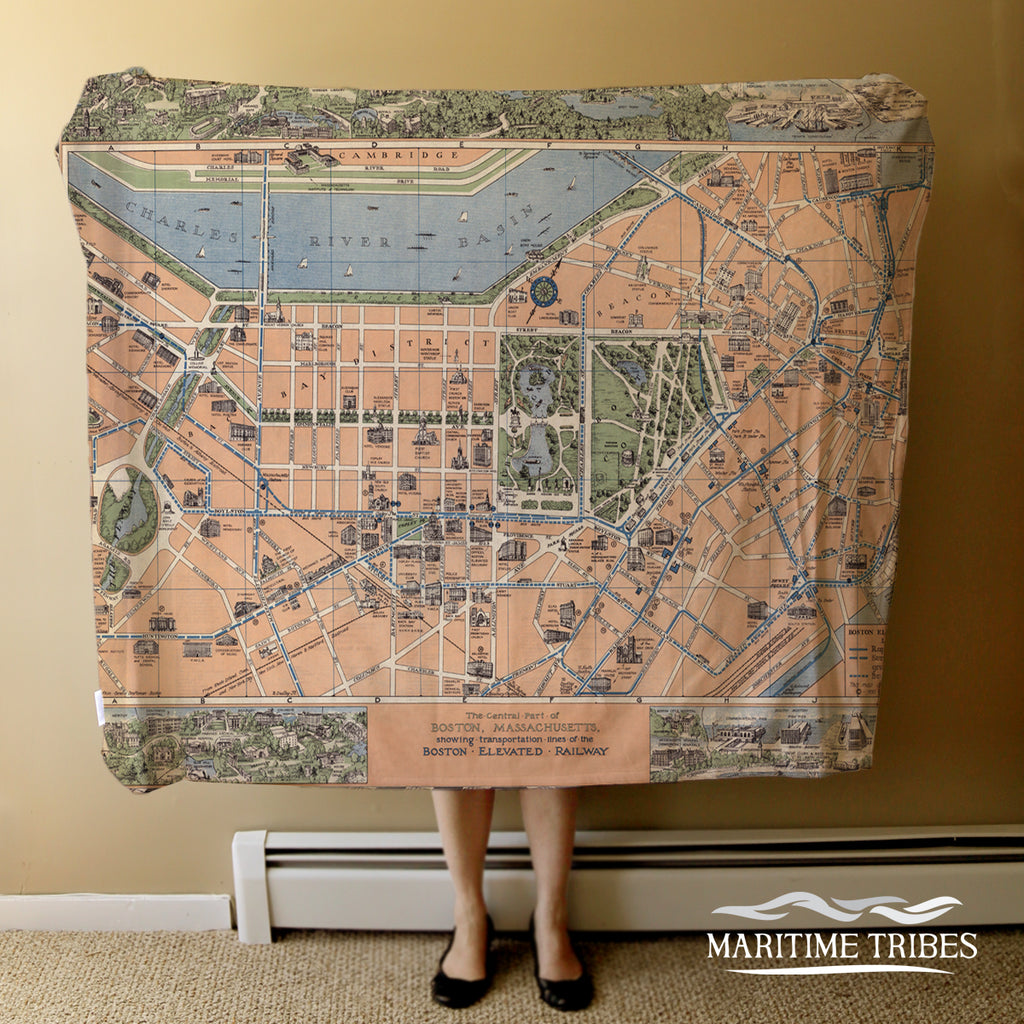 Boston, MA Vintage Pictorial Map Blanket