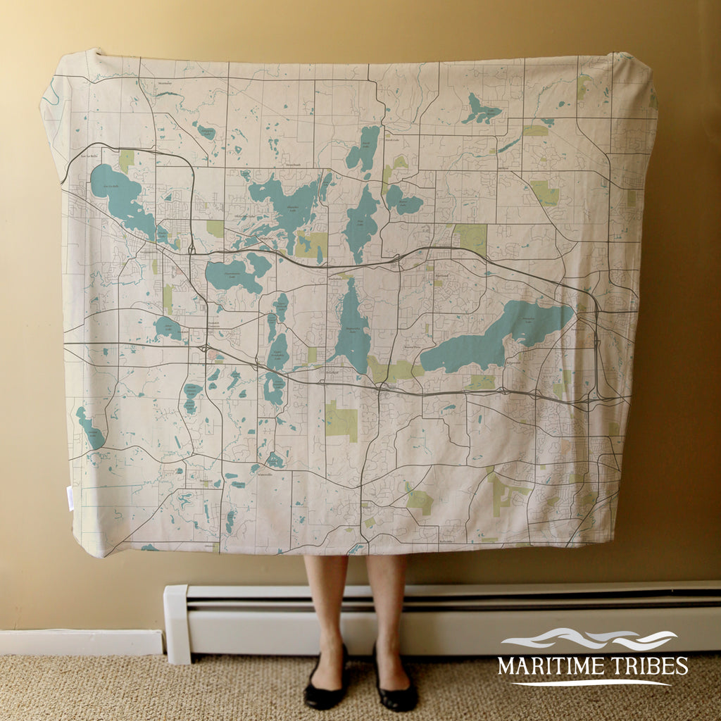 Pewaukee, WI Seaglass Map Blanket