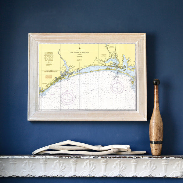 Cape Lookout to New River with Cedar Point Framed Map