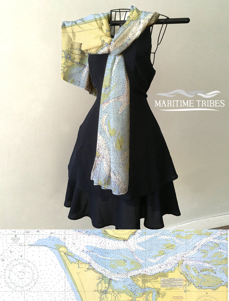 Columbia River, Oregon - Washington Nautical Chart Scarf