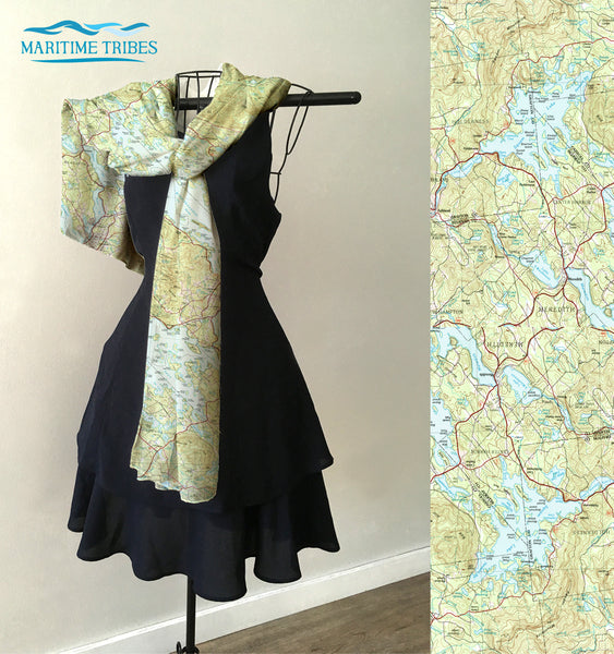 Squam Lake, NH Topo Map Scarf