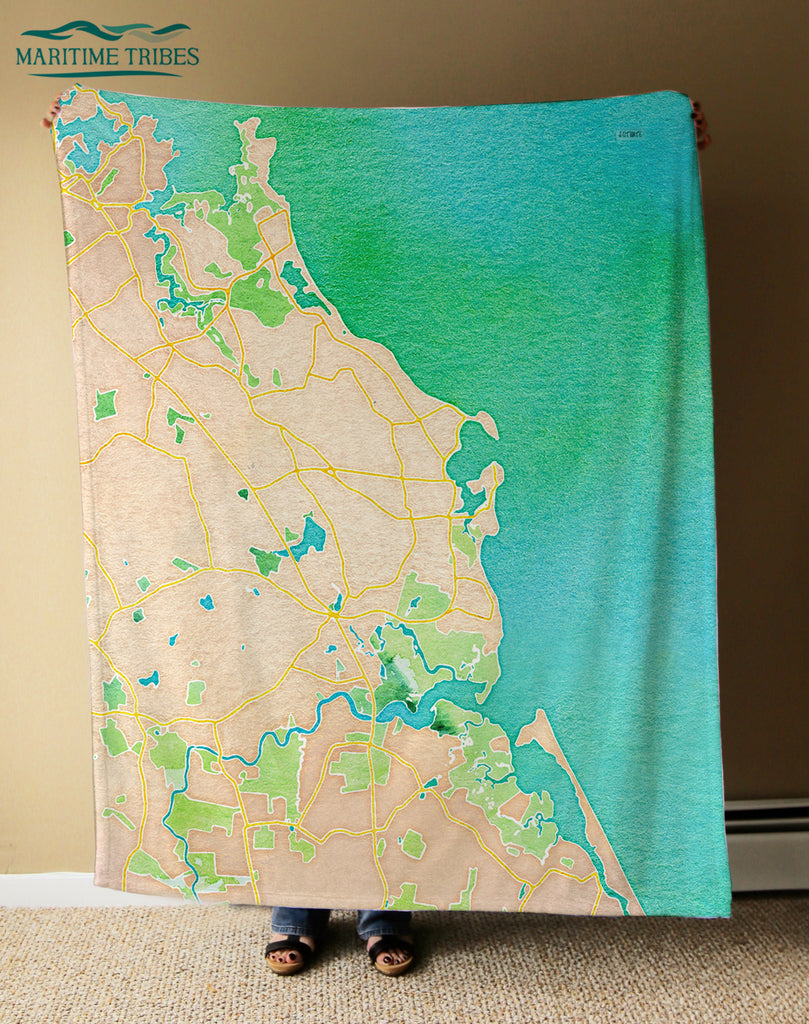 Scituate, MA Watercolor Map Blanket