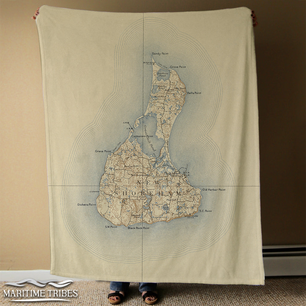Block Island Antique Map Blanket