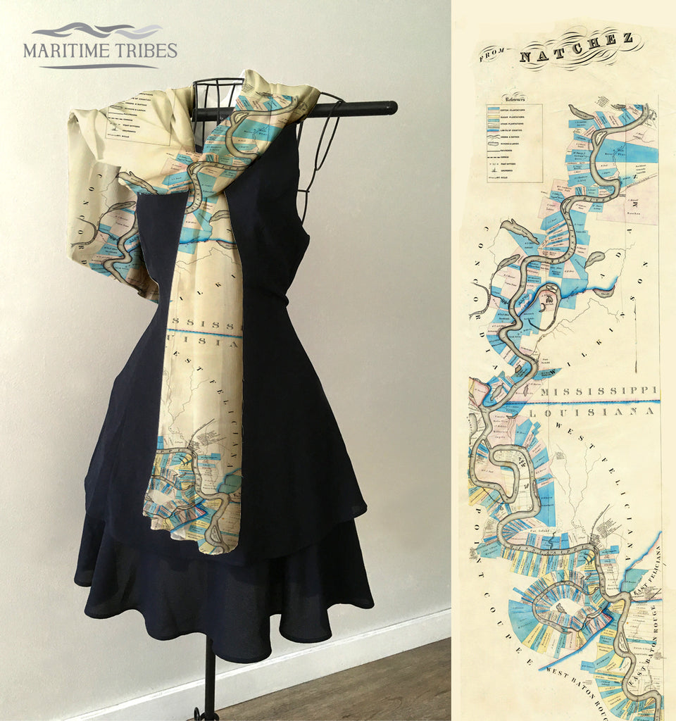 Mississippi River,  Natchez MS Antique Map Scarf