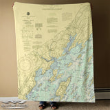Yarmouth, ME, Casco Bay Vintage Nautical Chart Blanket