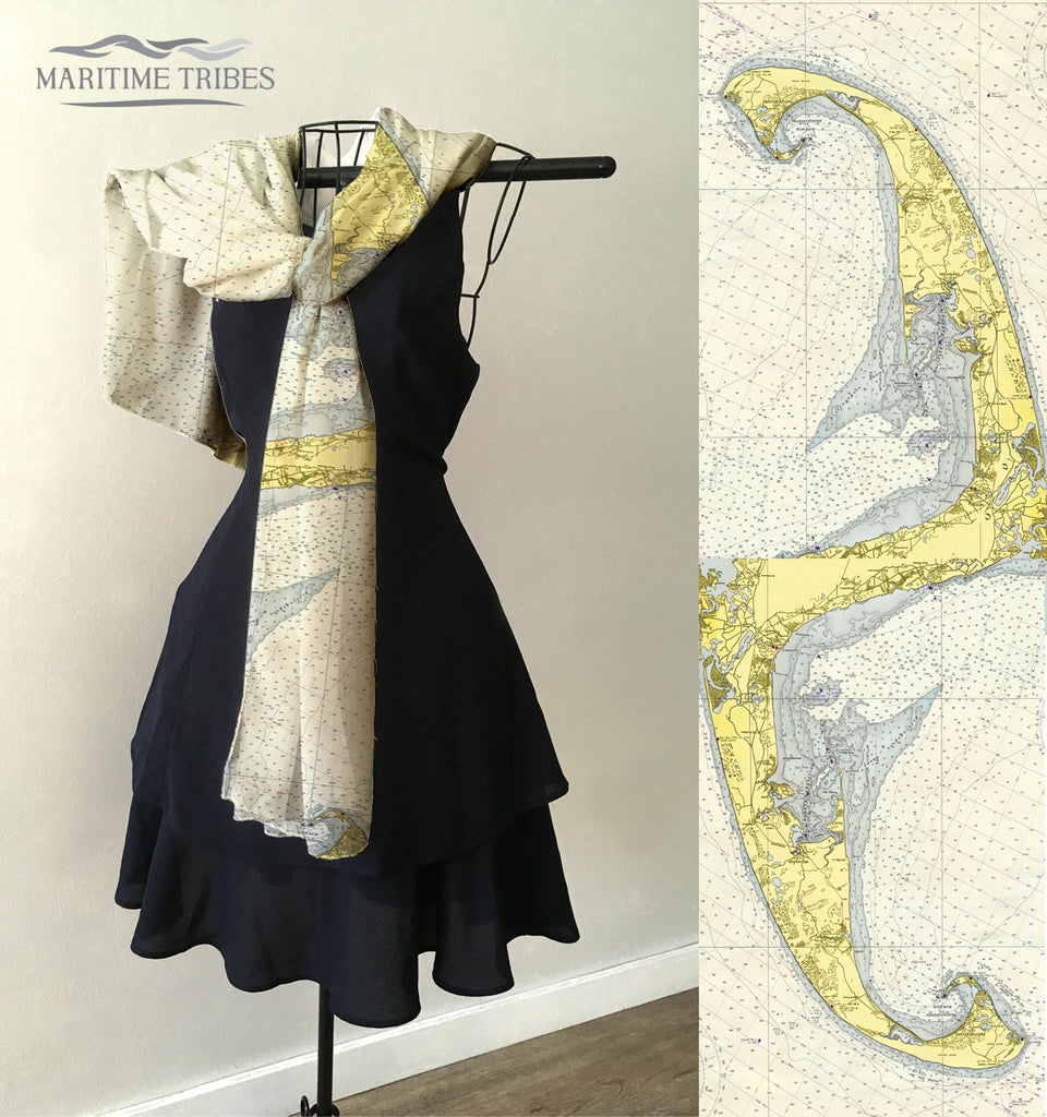 Cape Cod - Wellfleet to Provincetown Vintage Chart Scarf