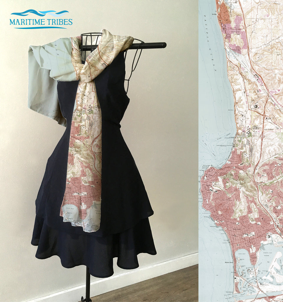 La Jolla to Mission Beach vintage topo map Scarf