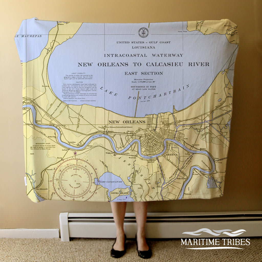 Lake Pontchartrain, New Orleans LA Nautical Chart Blanket