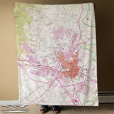Fort Detrick, Frederick MD Vintage topo Map Blanket