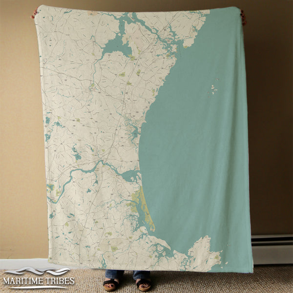Plum Island to Portsmouth NH Sea Glass Map Blanket
