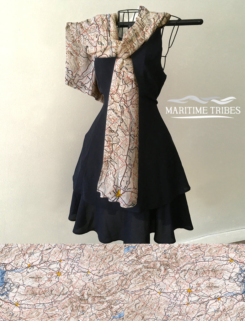 Sonoma CA, Wine Country Vintage Map Scarf