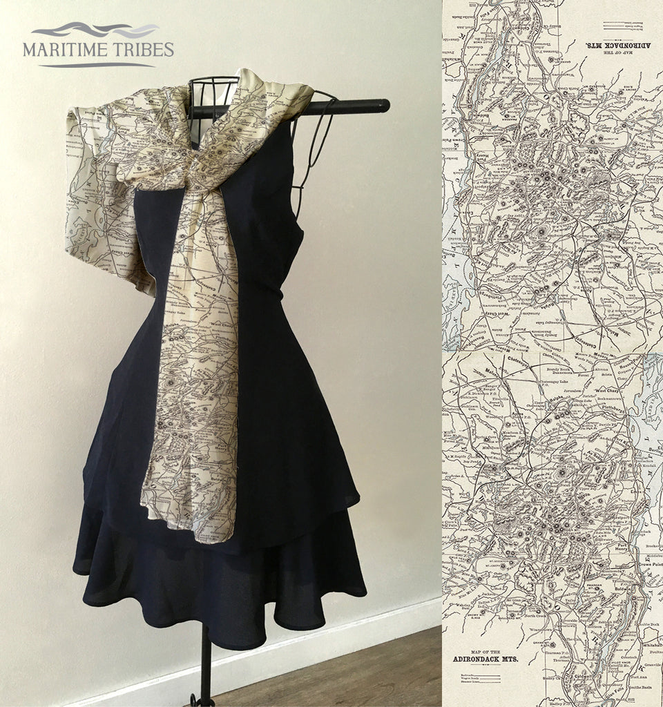 Adirondack Mountains Antique Map Scarf