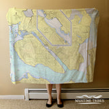 Juneau AK Vintage Nautical Chart Blanket