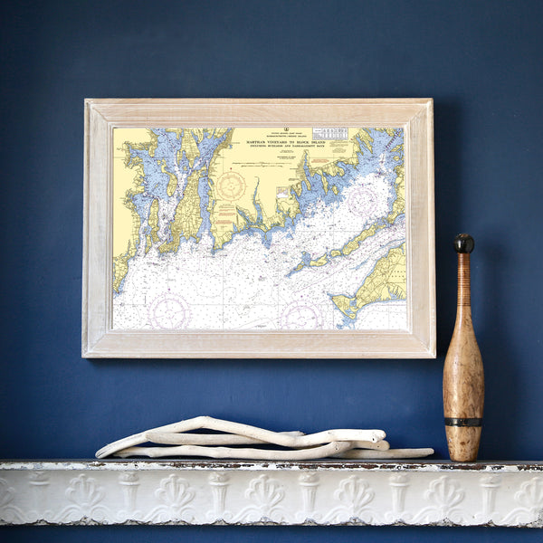 Point Judith to Martha's Vineyard 1958 Chart Framed Map