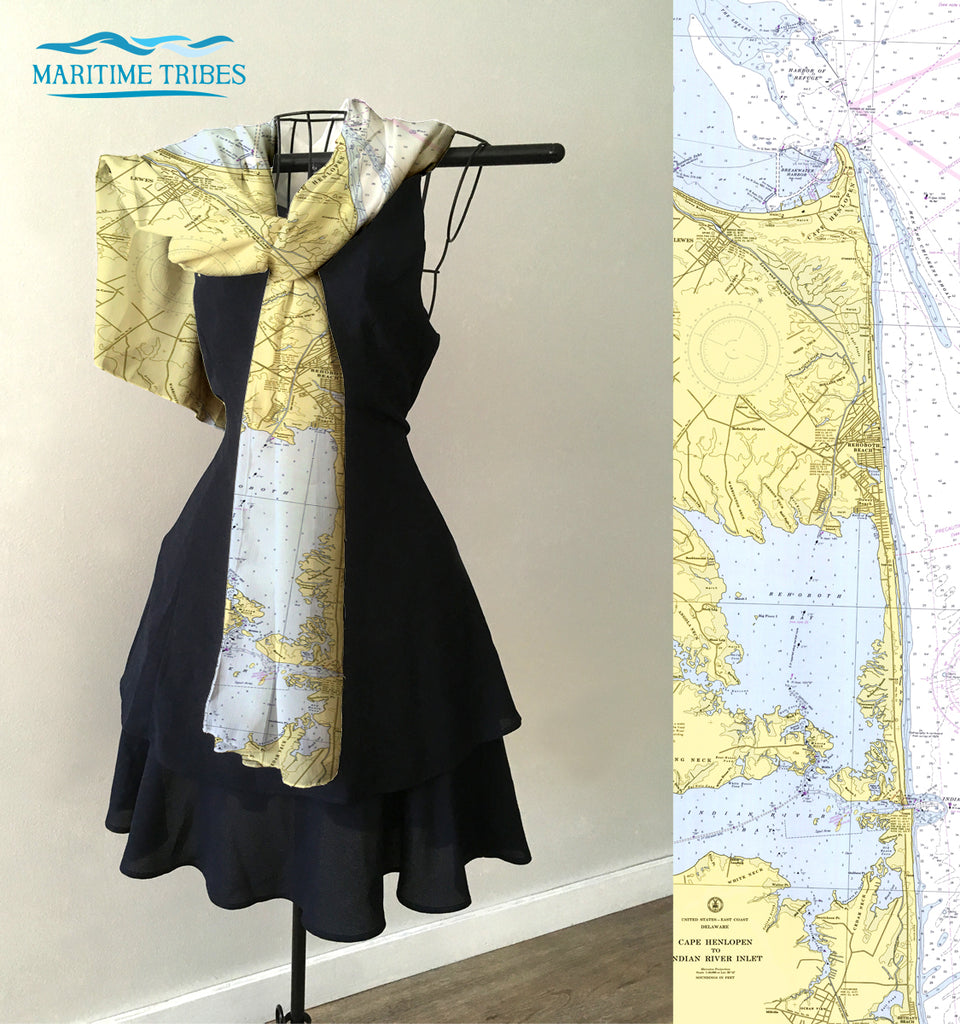 Rehoboth Beach, DE Vintage Nautical Chart Scarf