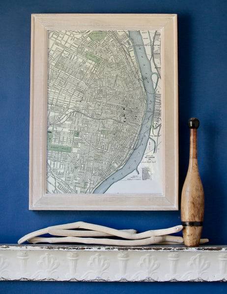 St. Louis, MO Vintage River Framed Map
