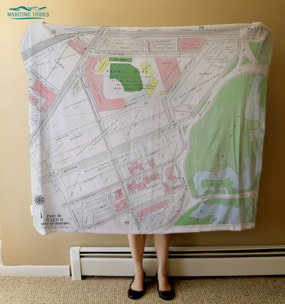 Fenway Park Vintage Map Blanket