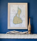 Block Island Nautical Chart Framed Map