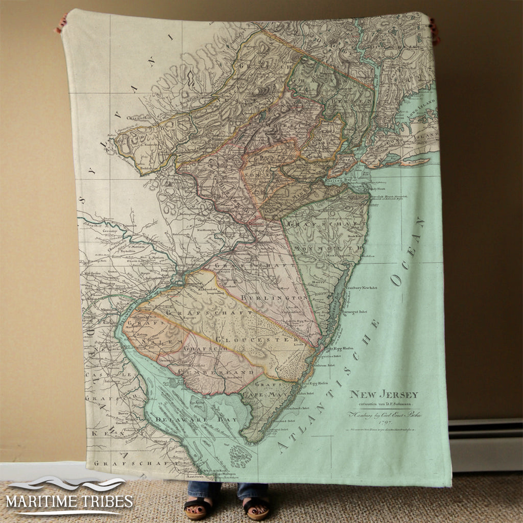 New Jersey Antique State Map Blanket