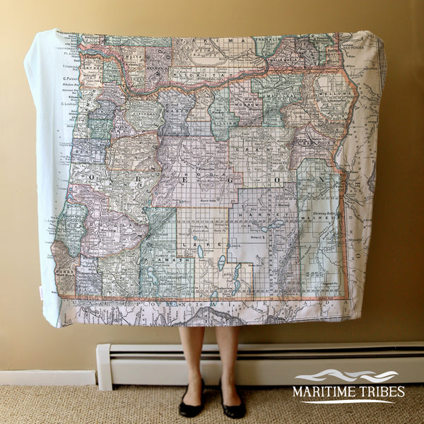 Oregon State Vintage Map Blanket