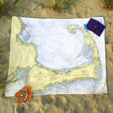 Cape Cod, MA Nautical Chart Blanket