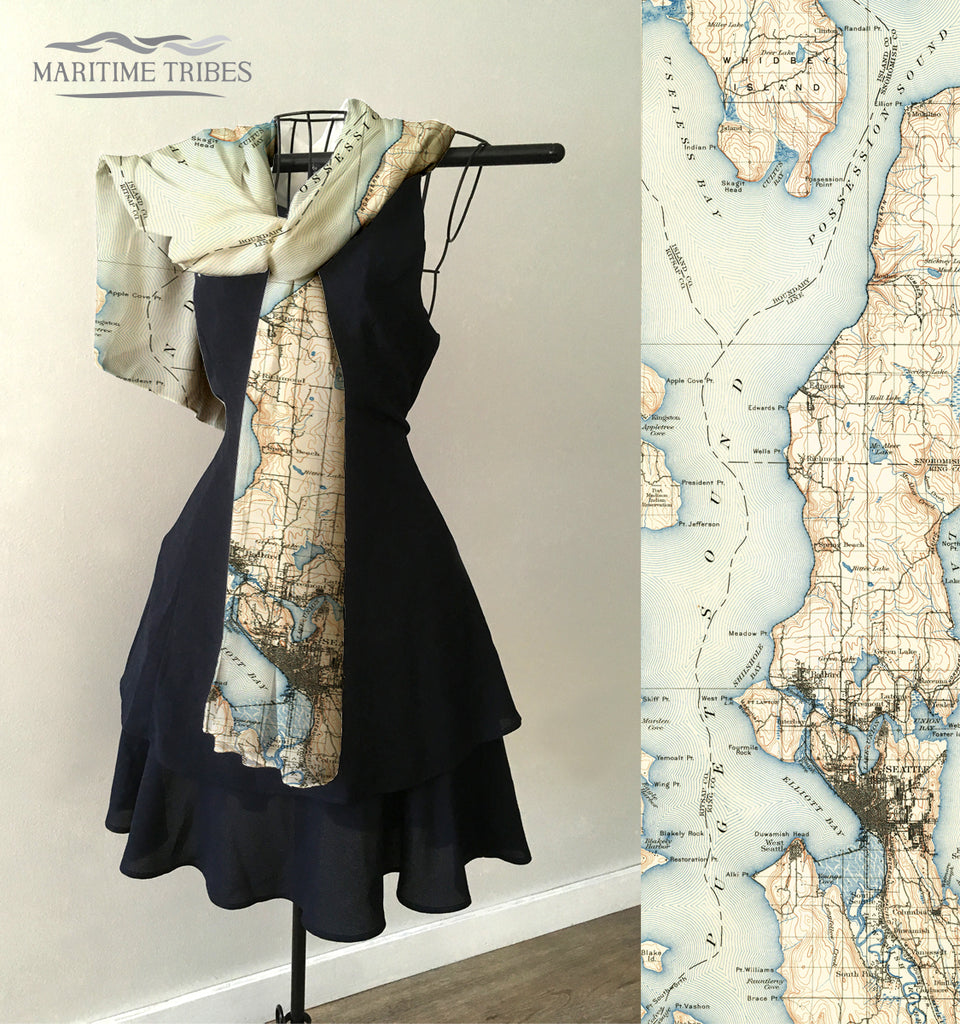 Seattle WA - Elliott Bay Vintage Map Scarf